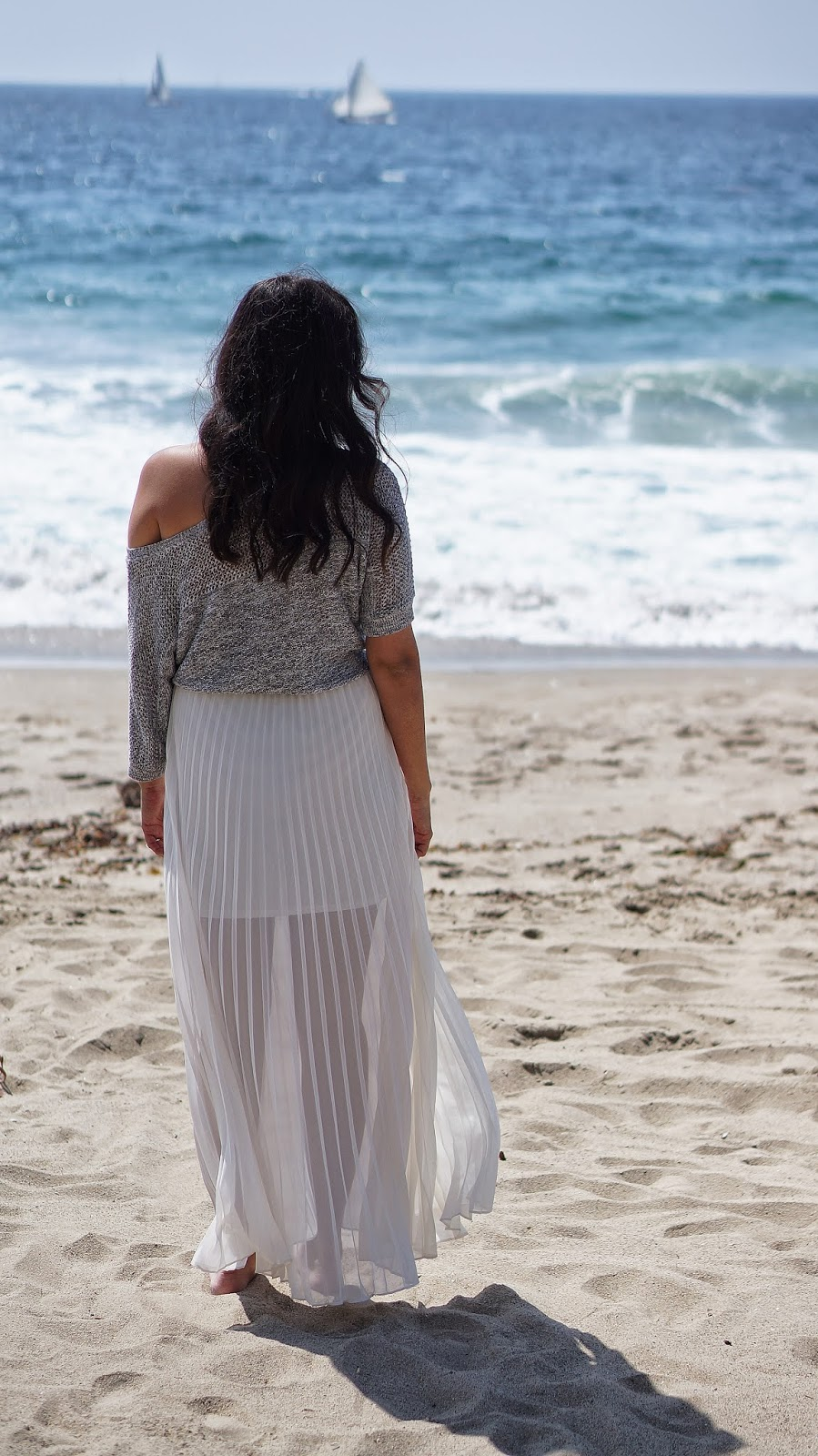 LC Lauren Conrad Chiffon Pleated Skirt, Fashion Blogger, Redondo Beach