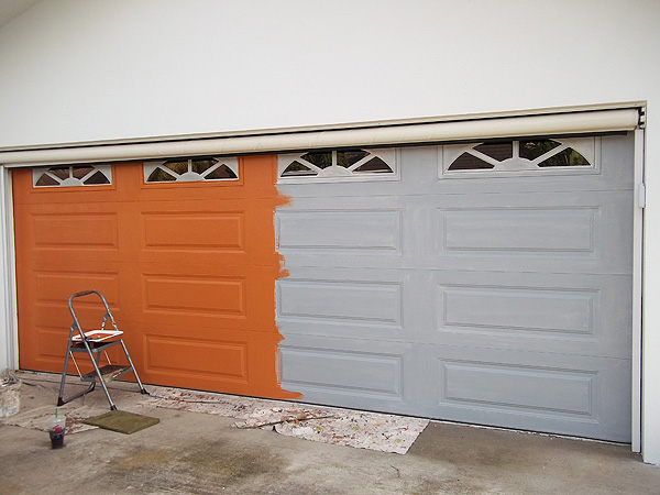 Orange base coat color on garage door everything i for Paint garage door to look like wood