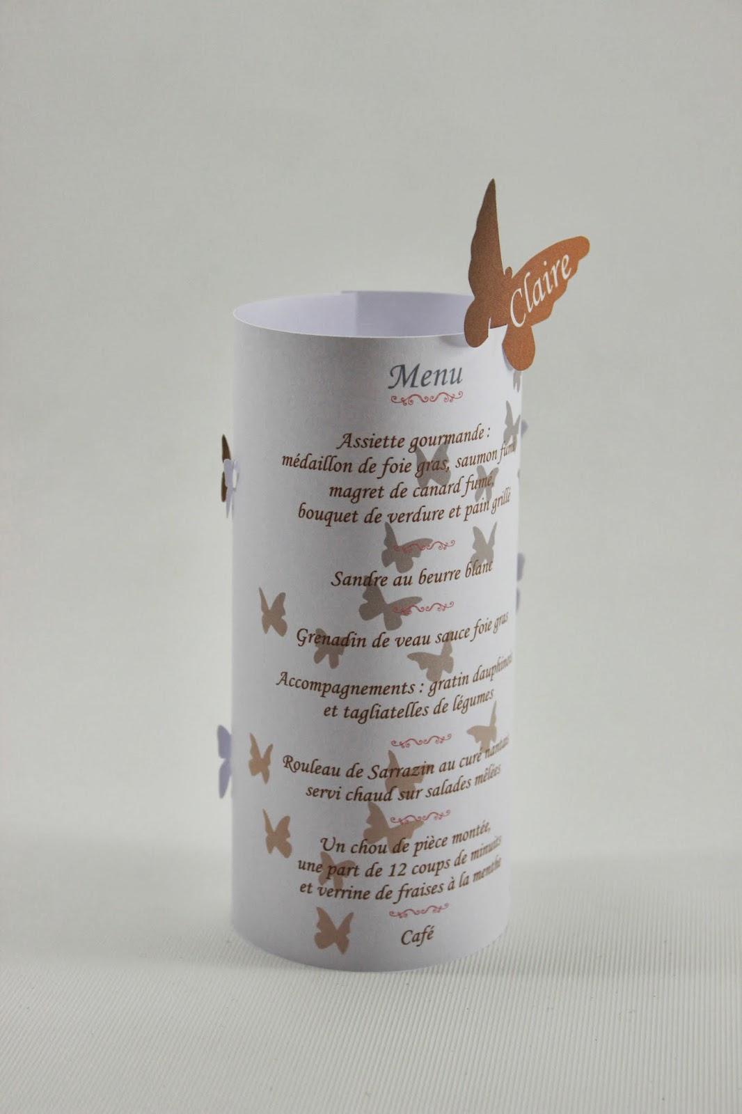 Menu photophore marque place papillons l 39 atelier de claram line - Marque place photophore ...