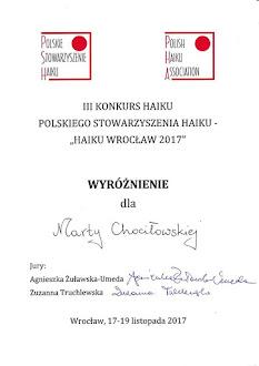 Konkurs Jednego Haiku Wrocław, 2017