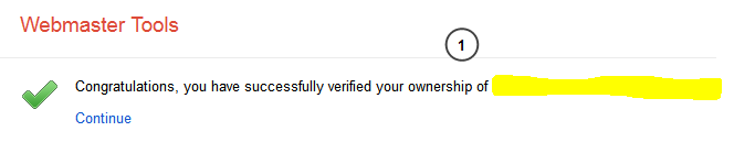 Google Webmaster Site Ownership Verification Success