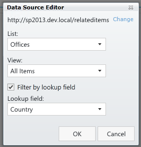 Data Source Editor of Related Items control