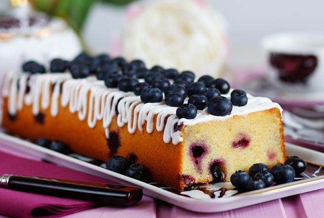 Cake aux myrtilles-crème citron