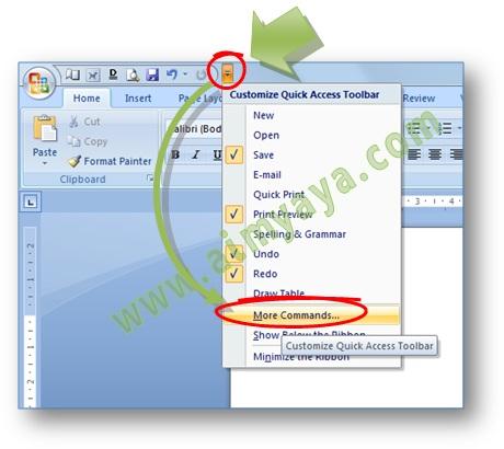 Gambar: Cara menambahkan tombol atau command ke dalam Quick Access Toolbar di  Microsoft Word