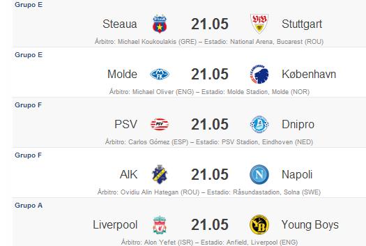 Partidos Fecha 5 Europa League 2012 - 2013