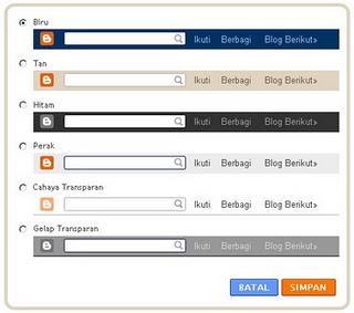 Berbagai pilihan warna navbar Blogspot