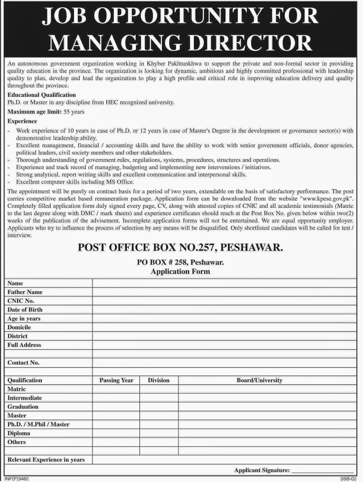 Jobs for Managing Director in Government Organization of KPK, Peshawar