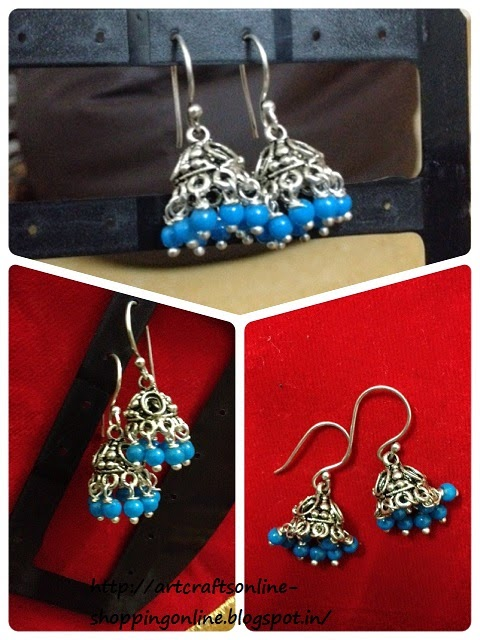 Metal jhumki with beads online
