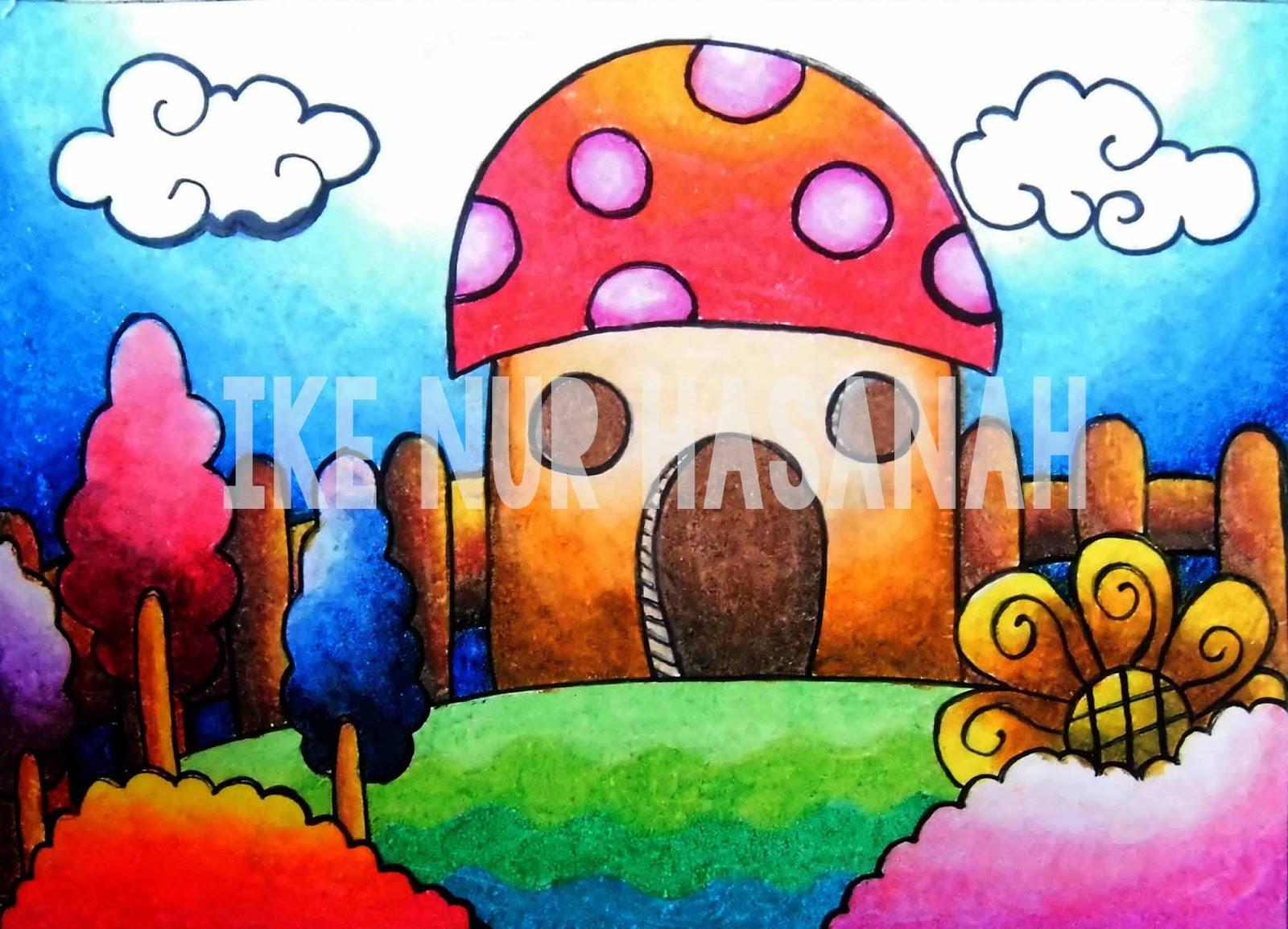 sekarang ku persembahkan hasil dari mewarna menggunakan crayon dengan warna gradasi
