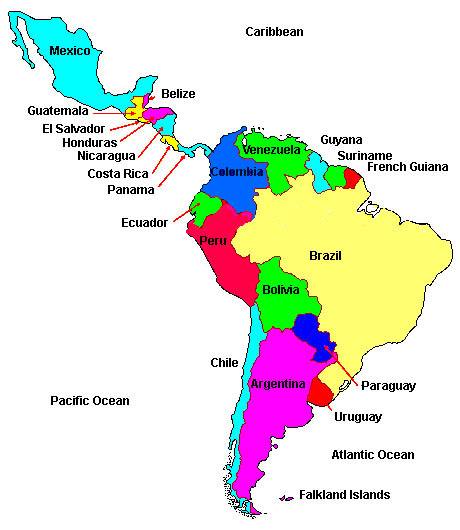 Latin America Map Region City Map of World Region City