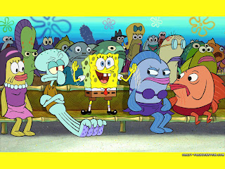 spongebob squarepants cheerleading in bikini bottom wallpaperp gambar artwork