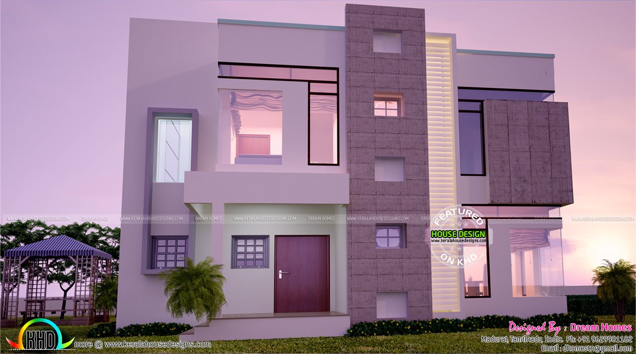 Contemporary home all side views kerala home design for Side view house plans