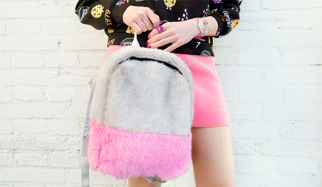 Skinny Dip, furry backpack, pink and grey