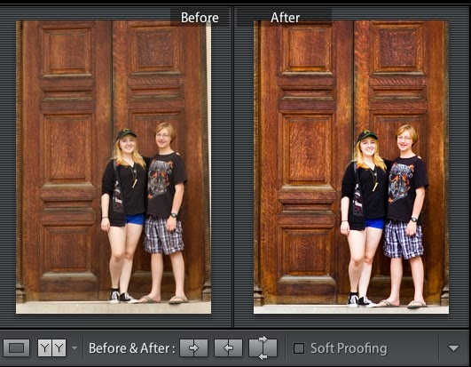 Before and After:  Alignment and color corrected.