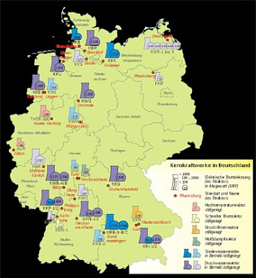 Map of Nuclear Power Plants in Germany