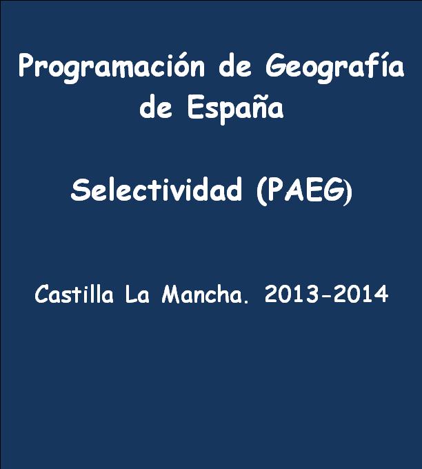 Programación de Geografía.13-14. Selectividad