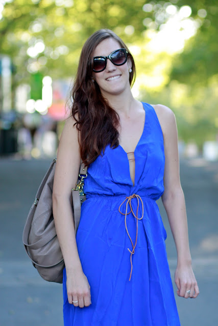 Seattle Street Style Fashion Haley Moore Space Needle Cobalt Blue Dress Portrait