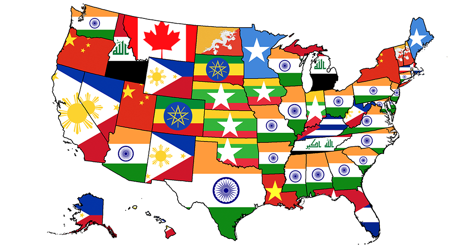 Most Common Country Of Origin Of Immigrants In The United States - Clipart us map border security