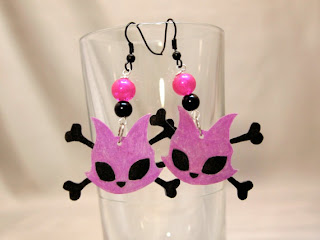Pagan Reid's Kitty with Crossbones Earrings available in Villainous Vixen's etsy shop