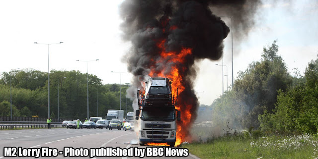 M2 Lorry Fire - Car transporter fire shuts motorway as firefighters tackle blaze
