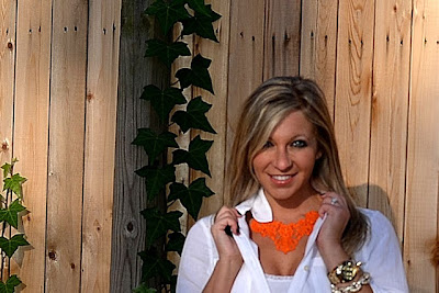 Niki from Glossy Blonde wearing an Orange Lace Necklace