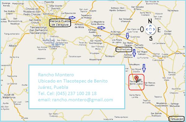 Localización del Rancho Montero, Solicite una cita al Cel. 045 237 100 28 18
