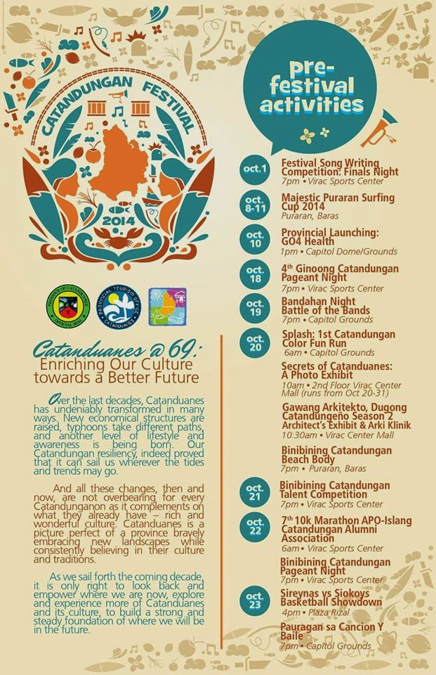Catandungan Festival 2014 Schedule of Activities