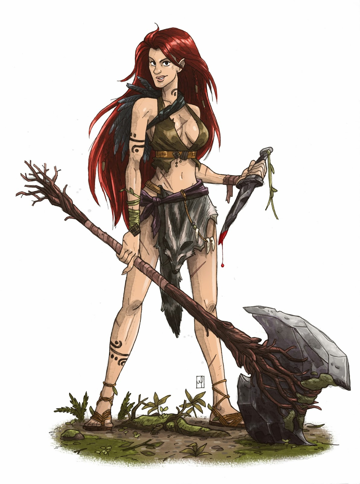 the art of m s corley half elf barbarian