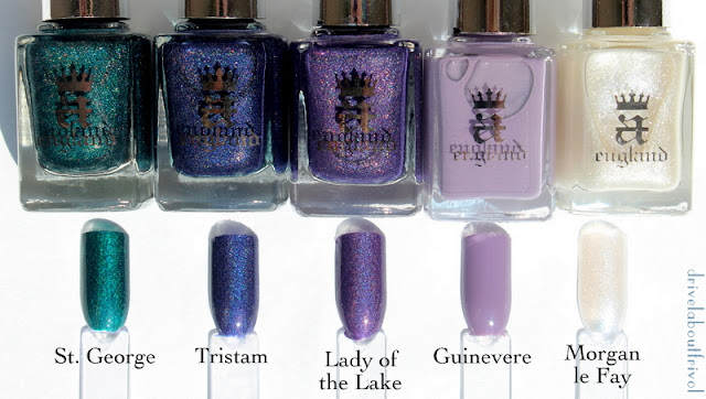 A-England nail polish swatch Morgan Le Fay, Guinevere, Lady of the Lake, Tristam, St George