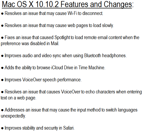 Mac OS X Yosemite 10.10.2 Final Features and Changes
