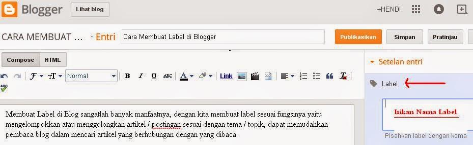 cara membuat Label di Blogger
