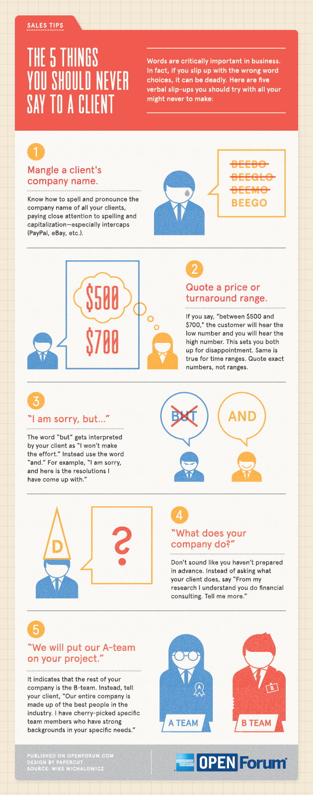 This infographic looks at some statements that could get you in hot water with a client.