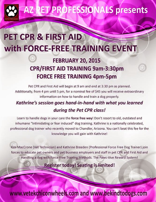 MARK YOUR CALENDARS!PET CPR CLASS AND FORCE FREE DOG TRAINING EVENT!