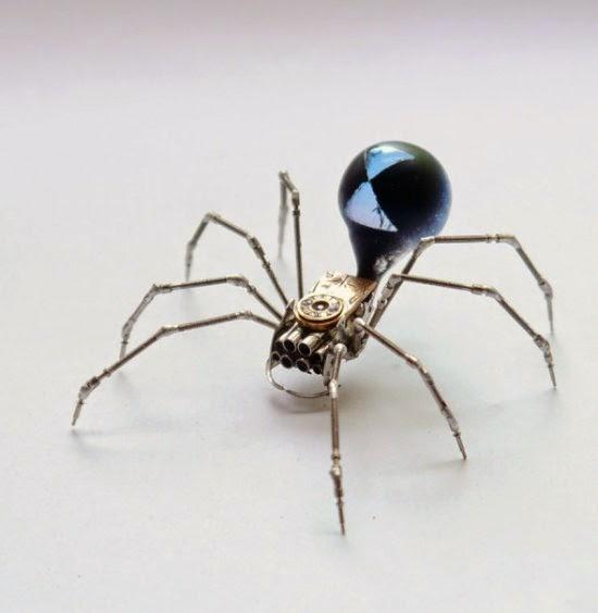 Justin Gershenson-Gates AMechanicalMind deviantart esculturas engrenagens animais mecânicos aranhas insetos metais