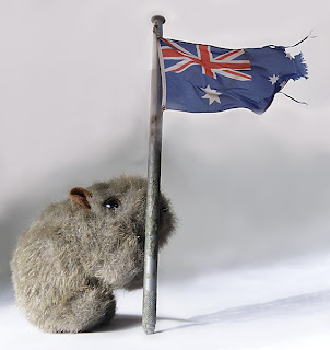 Shane Wombat with Aussie flag