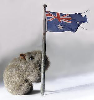 Shane Wombat with Aussie flag