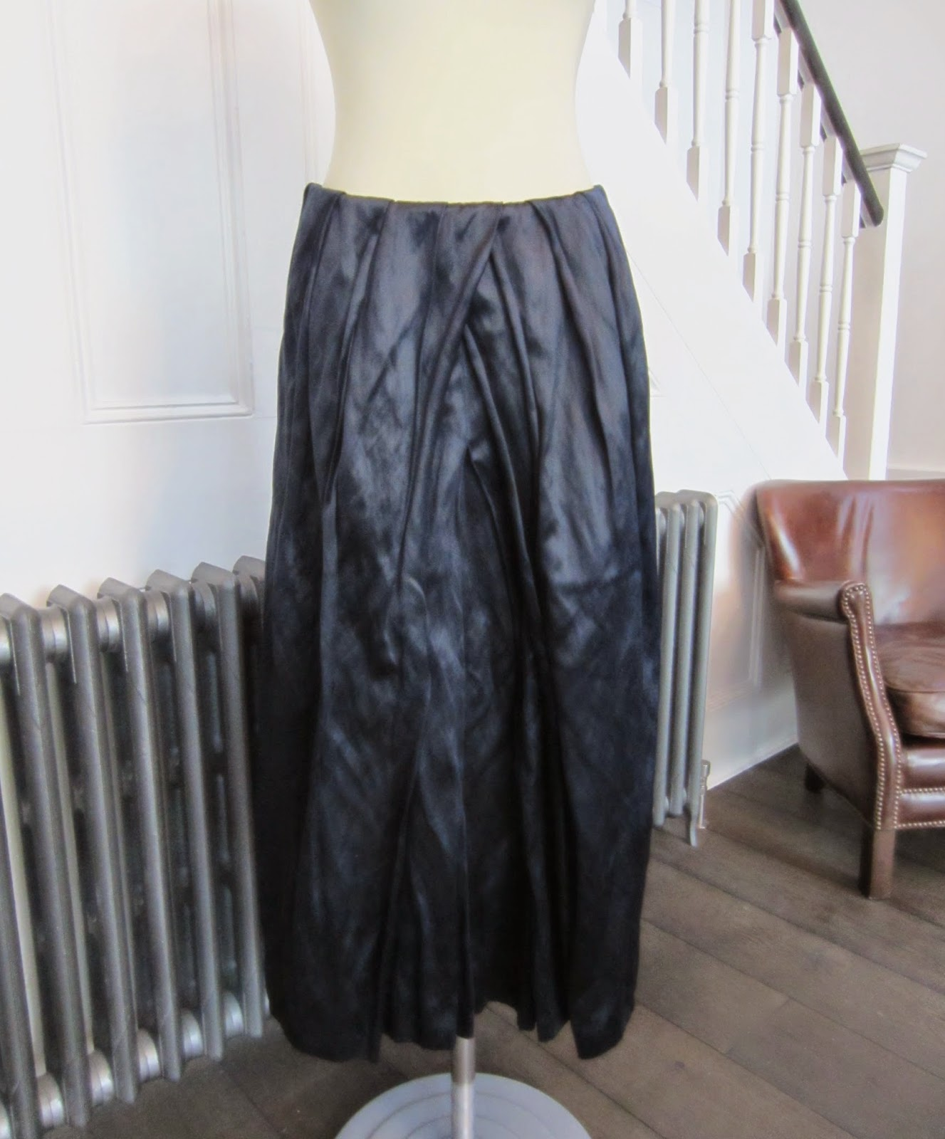 Dries Van Noten Navy Blue/Metallic Silk & Cotton Skirt