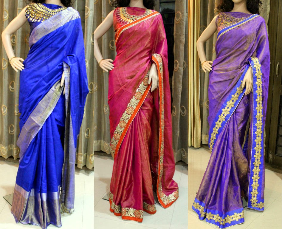 sarees with high neck blouse