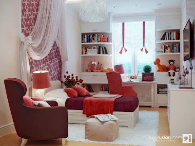 Pink and red home decor, pink bedrooms, red bedroom, pink kitchen, Teenage girls' bedroom, eclectic rooms, Valentine's Day decor