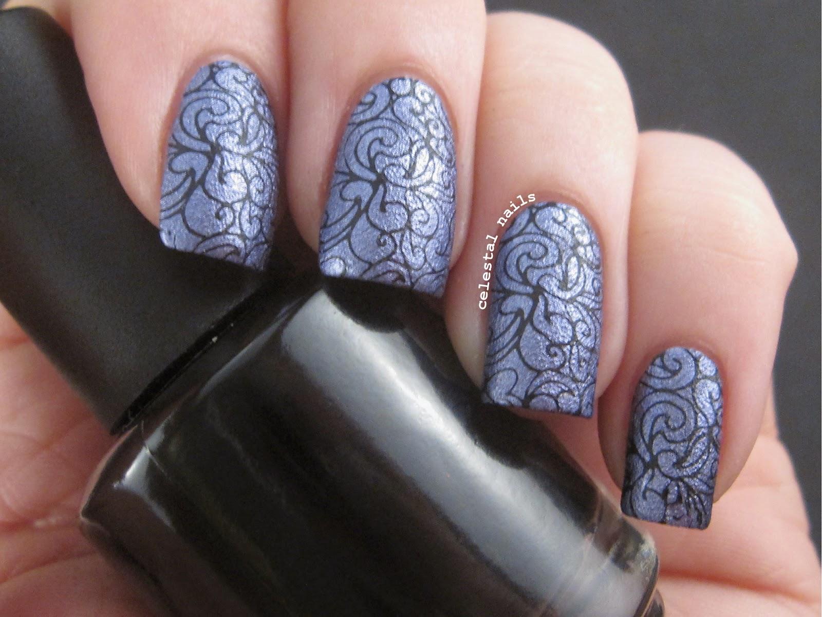 Purple Swirls Nail Stamping