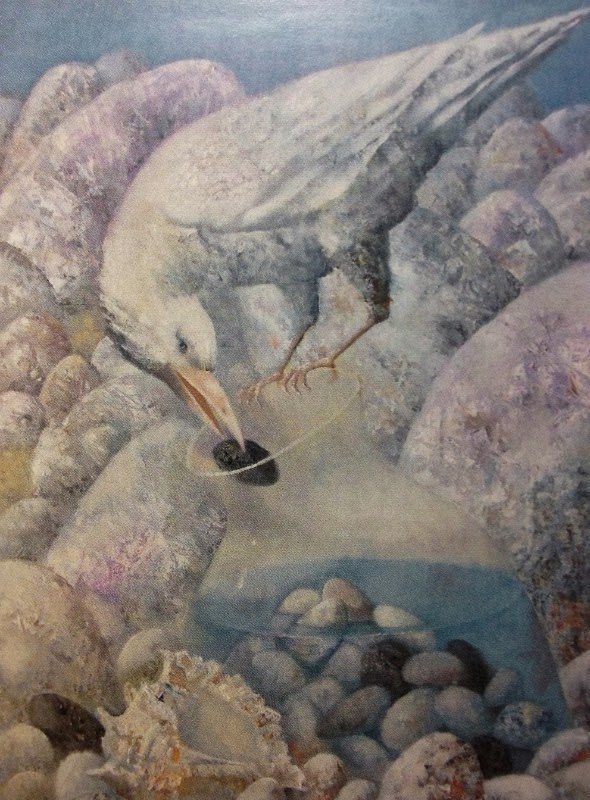 Painting of a bird throwing a pebble into a glass bottle so that it may drink water by Pavel Antipov