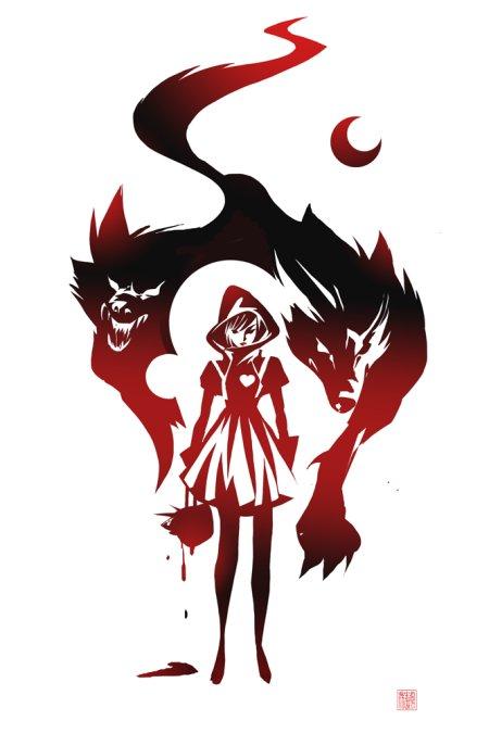 sho murase ilustrações singelas minimalistas espaço negativo mulheres super heroínas Chapeuzinho vermelho