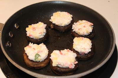 mushrooms, melting cheese