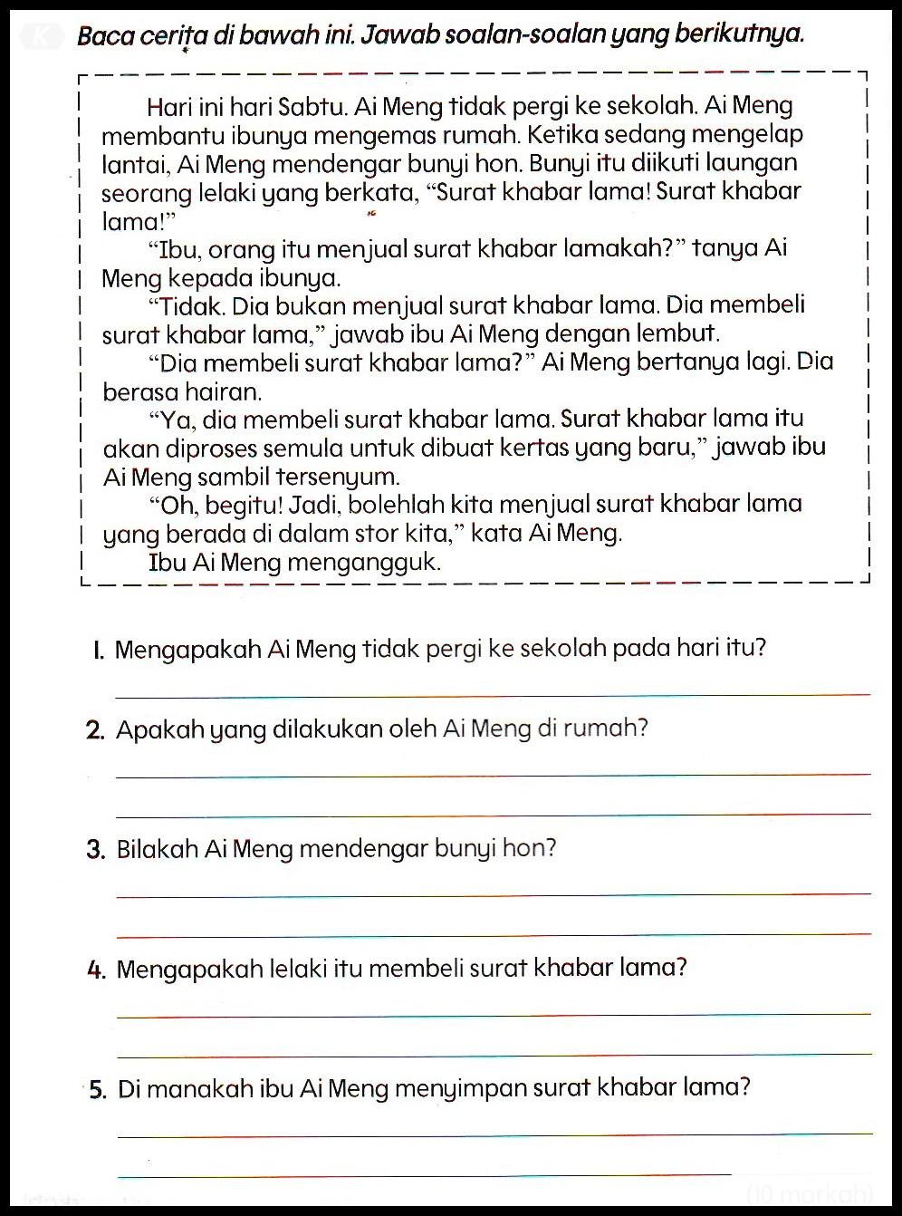 Kertas Soalan Bahasa Malaysia Tahun 1 Kssr Soalan Q