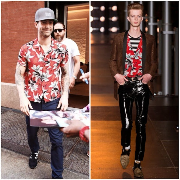 Adam Levine Saint Laurent red floral shirt - New York City June 2014