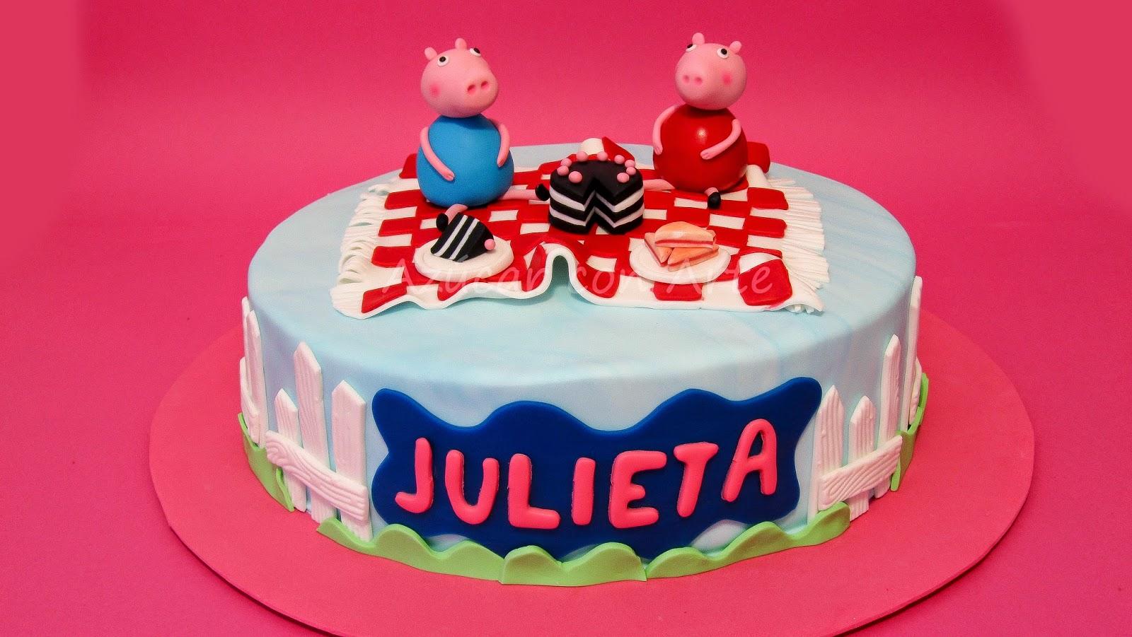 tarta peppa pig, peppa pig cake,tarta sin gluten, gluten free cake|azucar con arte