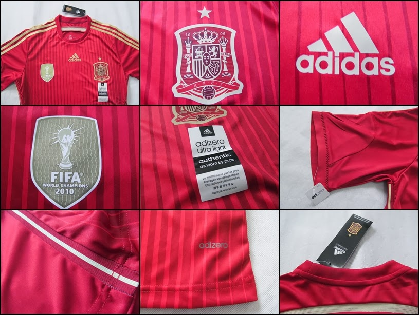Detail Jersey Bola Grade Ori Spain Home Man Official World Cup 2014