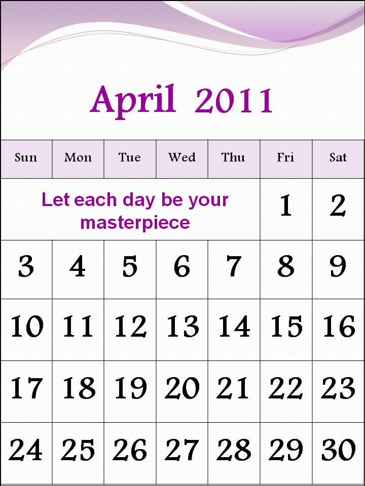 calendar 2011 april. Free Calendar 2011 April