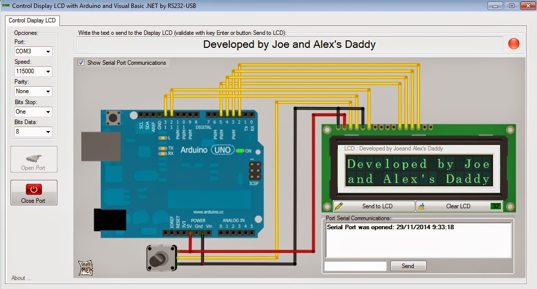 Quot control display lcd with arduino and visual basic