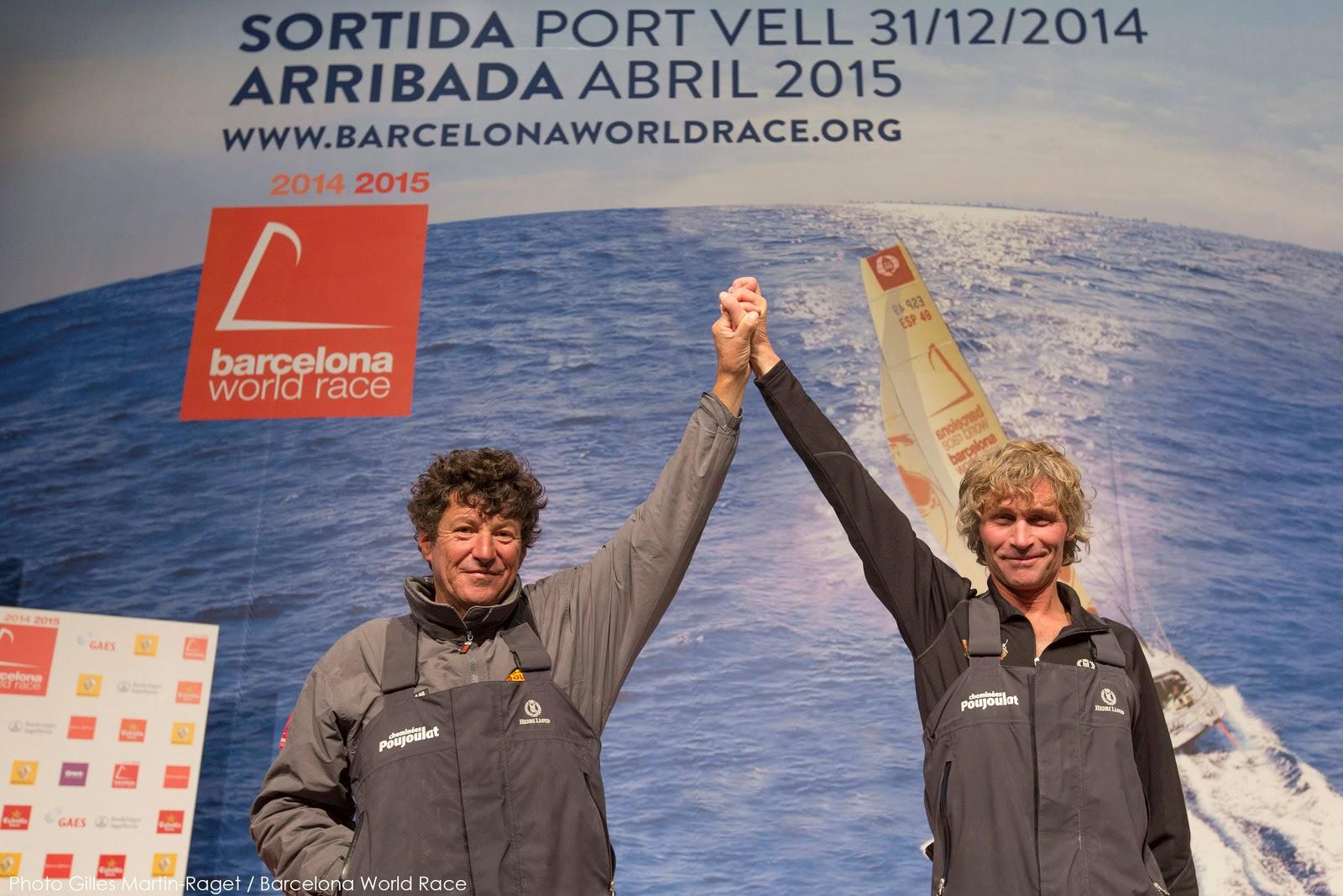 Bernard Stamm et Jean Le Cam vainqueurs de la Barcelona World Race 2014.
